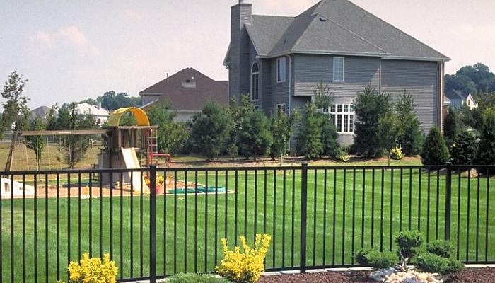 Fence around a backyard
